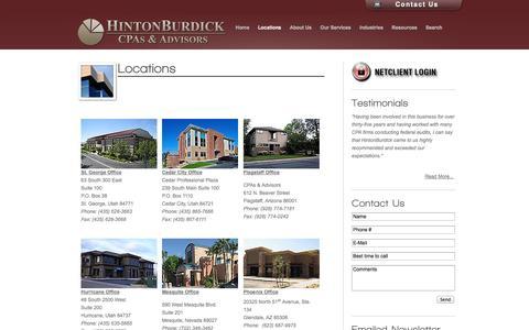 Screenshot of Contact Page Locations Page hintonburdick.com - CPAs & Advisors in Utah, Nevada and Arizona - Hinton Burdick - captured Oct. 22, 2014