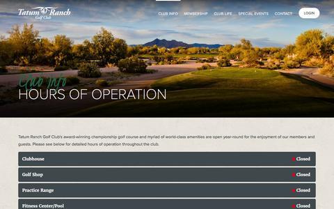Screenshot of Hours Page tatumranchgc.com - Hours of Operation | Tatum Ranch Golf Club - captured Feb. 18, 2016
