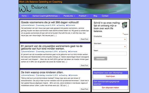 Screenshot of Blog worklifebalanceopleidingencoaching.be - Blog - Work Life Balance Opleiding en Coaching - captured Jan. 11, 2016