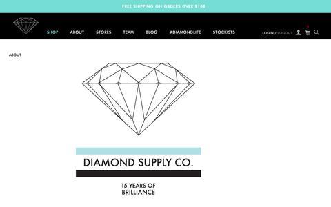 Screenshot of About Page diamondsupplyco.com - About / Diamond Supply Co. - captured Dec. 31, 2015