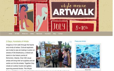 Screenshot of Home Page art-walk.ca - Edmonton's Whyte Avenue Art Walk - captured June 21, 2016