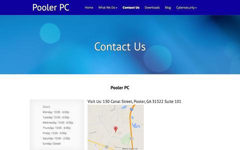 Screenshot of Contact Page poolerpc.com - Contact Us - Pooler PC   Pooler PC - captured Sept. 30, 2014