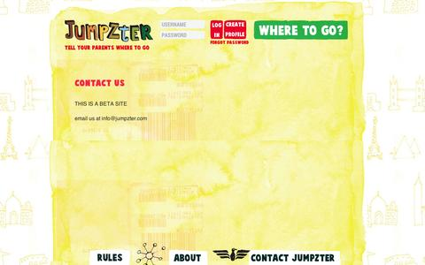 Screenshot of Contact Page jumpzter.com - Family travel ideas with kids reviews Jumpzter BETA - captured Sept. 11, 2014