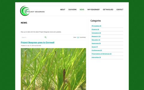 Screenshot of Press Page projectseagrass.org - News | Project Seagrass - captured July 17, 2016