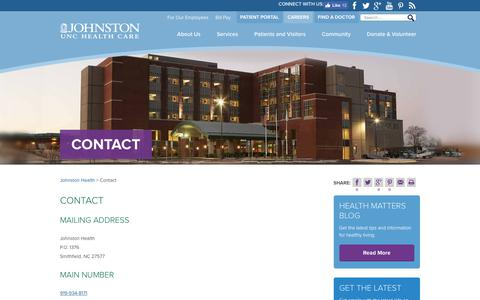Screenshot of Contact Page johnstonhealth.org - Contact - Johnston Health - captured June 8, 2017