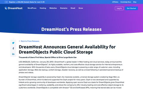 Screenshot of Press Page dreamhost.com - DreamHost Announces General Availability for DreamObjects Public Cloud Storage  – DreamHost - captured Feb. 21, 2020