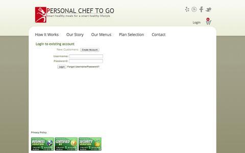 Screenshot of Login Page personalcheftogo.com - Personal Chef To Go - captured Nov. 1, 2014