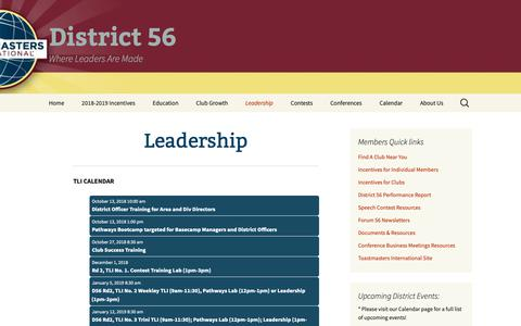 Screenshot of Team Page tmd56.org - Leadership | District 56 - captured Oct. 9, 2018