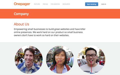Screenshot of About Page onepagerapp.com - About Us | Onepager - Build a simple website for your small business - captured Oct. 10, 2014