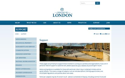 Screenshot of Support Page anglican.org - Diocese of London | Support - captured Sept. 19, 2014