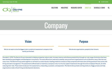 Screenshot of About Page devinegroup.com - Company - The Devine Group - captured July 11, 2018