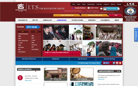 Screenshot of Home Page its.edu.in - Best Management Institutes in UP, Top B-Schools in India, ITS The Education Group - captured Sept. 30, 2018