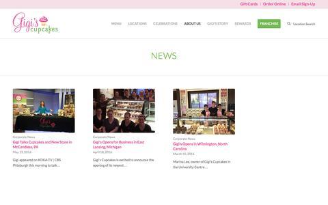 Screenshot of Press Page gigiscupcakesusa.com - News - Gigis Cupcakes - captured Sept. 17, 2016