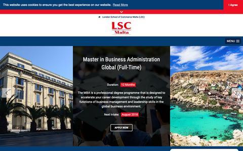 Screenshot of Contact Page lscmalta.edu.mt - London School of Commerce Malta (LSC) • Contact - captured Sept. 30, 2018