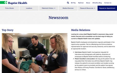Screenshot of Press Page baptist-health.com - Newsroom - Baptist Health - captured Aug. 21, 2019