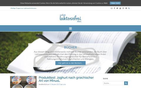 Screenshot of Home Page einfach-laktosefrei-leben.de - Einfach laktosefrei leben - Wie man mit Laktoseintoleranz umgeht - Laktose-Intoleranz, laktosefrei kochen und backen - captured Oct. 10, 2017