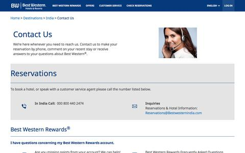 Screenshot of Contact Page bestwestern.com - Contact Office in India - captured Aug. 1, 2018