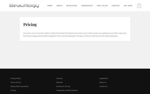 Screenshot of Pricing Page beautilogy.com.au - Beautilogy |   Pricing - captured Feb. 3, 2018
