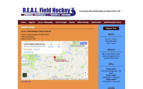 Screenshot of Maps & Directions Page realfieldhockey.com - Directions | R.E.A.L. Field Hockey - captured Jan. 3, 2017