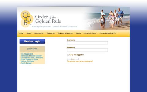 Screenshot of Login Page ogr.org - The International Order of the Golden Rule - captured Sept. 19, 2014