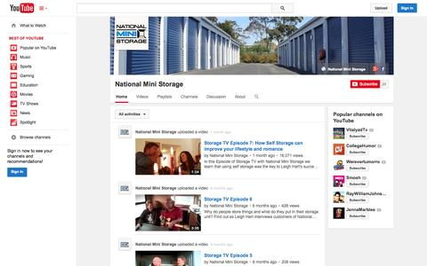 Screenshot of YouTube Page youtube.com - National Mini Storage  - YouTube - captured Oct. 27, 2014