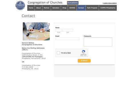 Screenshot of Contact Page congregationofchurches.org - Contact - captured Sept. 28, 2018