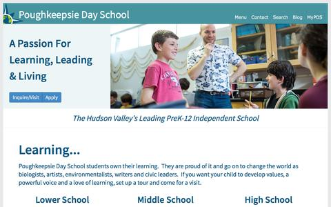 Screenshot of Home Page poughkeepsieday.org - Poughkeepsie Day School - captured Aug. 16, 2017