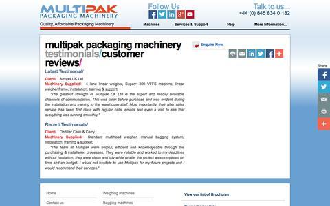 Screenshot of Testimonials Page multipak.co.uk - Multipak | Testimonials | Multipak Packaging Machinery - captured Oct. 6, 2014