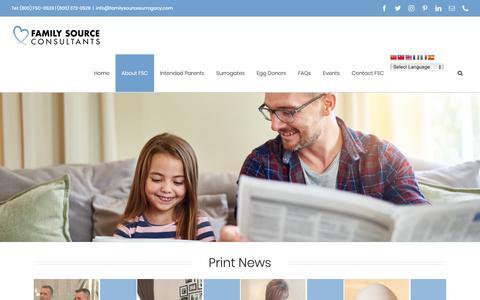 Screenshot of Press Page familysourcesurrogacy.com - Media | Family Source Surrogacy & Egg Donation Agency - captured Oct. 10, 2018