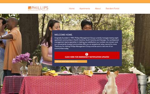 Screenshot of Home Page phillipsmanagement.com - Phillips Management Group - captured Sept. 28, 2018