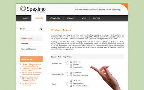 Screenshot of Products Page speximo.com - Product Areas - Speximo | Starch Pickering Emulsion Technology - captured Oct. 6, 2014