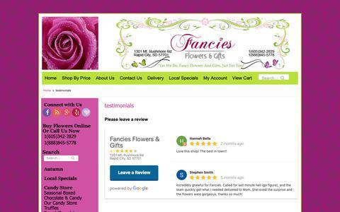 Screenshot of Testimonials Page fanciesflowers.com - testimonials | Flower Shop & Florist in Rapid City SD | Fancies Flowers - captured Oct. 31, 2018