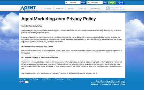 Screenshot of Privacy Page agentmarketing.com - Single Property Websites - Privacy Statement - captured Sept. 19, 2014