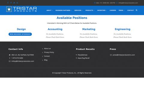 Screenshot of Jobs Page tristarproductsinc.com - Career Opportunities | Tristarproductsinc - captured July 1, 2017