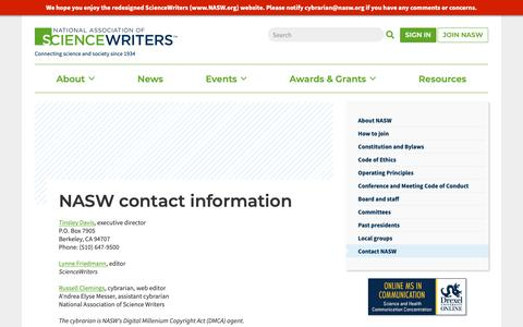 Screenshot of Contact Page nasw.org - NASW contact information   ScienceWriters (www.NASW.org) - captured Oct. 18, 2018