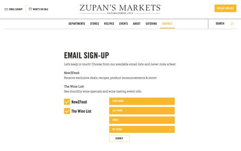 Screenshot of Signup Page zupans.com - Get Email Updates from Zupan's Markets - captured Nov. 5, 2017