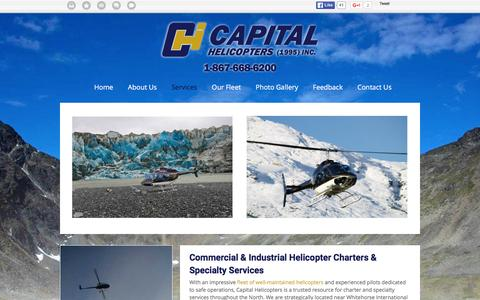 Screenshot of Services Page capitalhelicopters.com - Commercial Helicopter Charters Whitehorse | Services | Capital Helicopters - captured Jan. 25, 2016