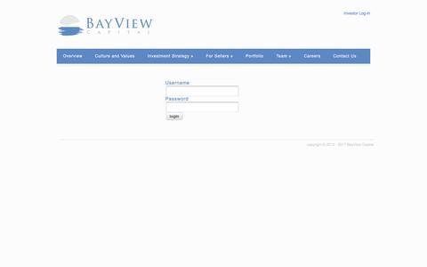 Screenshot of Login Page bviewcap.com - login | BayView Capital - captured Oct. 10, 2017