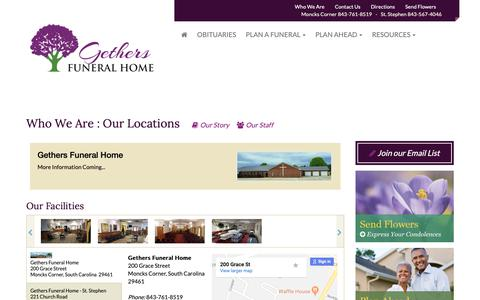 Screenshot of Locations Page Maps & Directions Page gethersfuneralhome.com - Gethers Funeral Home | Facility | Gethers Funeral Home - captured Sept. 28, 2018