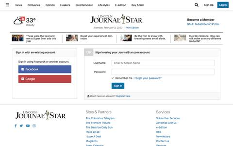 Screenshot of Support Page journalstar.com - Users | journalstar.com - captured Feb. 3, 2020