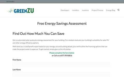 Screenshot of Signup Page greenzu.com - Solar Savings Assessment | Free Renewable Energy Quote | Solar Power Sign Up - captured July 24, 2018