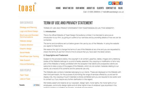 Screenshot of Privacy Page toastdesign.co.uk - Terms and Privacy : Toast Design agency for print, brands and websites - captured Sept. 19, 2014