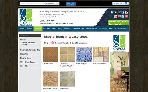 Screenshot of Products Page capellinteriors.com - Flooring Products: Carpet, Glass Tile, Natural Stone   Capell Flooring and Interiors - captured Oct. 1, 2014