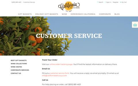 Screenshot of Support Page californiadelicious.com - Customer Service | California Delicious - captured July 15, 2018