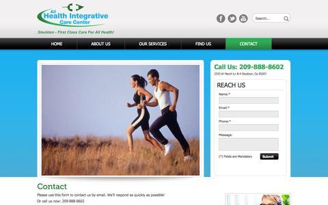 Screenshot of Contact Page allhealthstockton.com - Contact Us, All Health Integrative Care Center,  Stockton, CA | allhealthstockton.com - captured Oct. 2, 2014