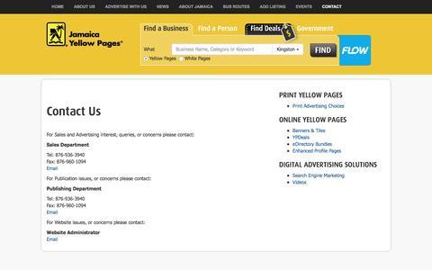 Screenshot of Contact Page jamaicayp.com - Jamaica Yellow Pages  |  Contact UsJamaica Yellow Pages - captured Sept. 21, 2016