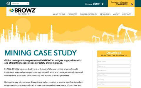 Screenshot of Case Studies Page browz.com - Mining Client Case Study - contractor management service - captured Sept. 29, 2018