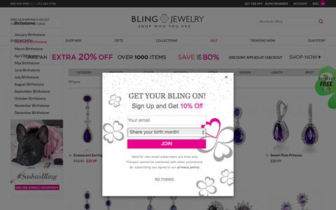 Screenshot of blingjewelry.com - February Birthstone Jewelry - CZ Amethyst Rings, Necklaces & More Stylish Purple Jewelry - captured Feb. 23, 2017