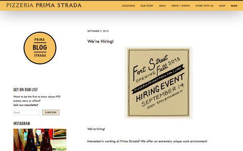 Screenshot of Blog pizzeriaprimastrada.com - Blog - Pizzeria Prima Strada - captured Oct. 2, 2015