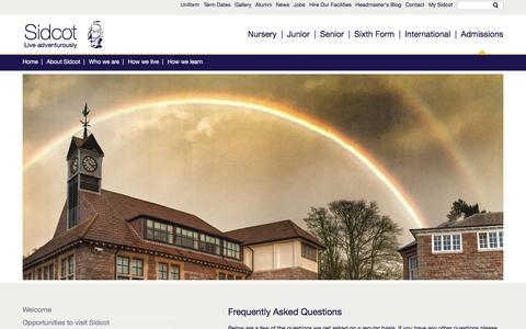 Screenshot of FAQ Page sidcot.org.uk - Sidcot School - captured Dec. 19, 2016